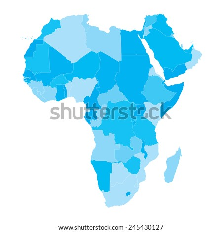 Free Map Of Africa.Vector Map Africa Countries Cyan Stock Vector Royalty Free