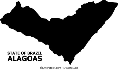 Vector Map of Alagoas State with title. Map of Alagoas State is isolated on a white background. Simple flat geographic map.