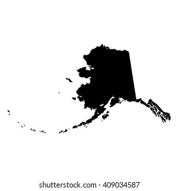 Vector map Alaska. Isolated vector Illustration. Black on White background. EPS 8 Illustration.
