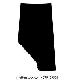 Vector map Alberta. Isolated vector Illustration. Black on White background. EPS Illustration.