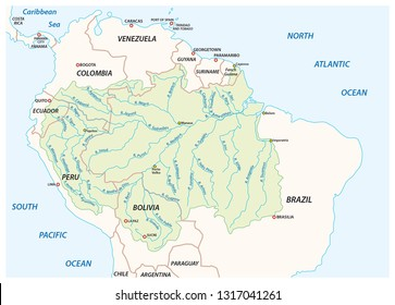 Vector map of the Amazon River drainage basin