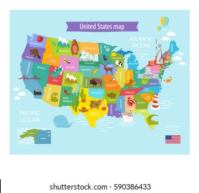 America Vector Map States Us Pets Stock Vector Royalty Free