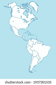Vector Map of American Continent Blue and White