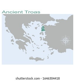 vector map of the Ancient Troas