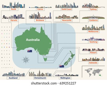 vector map (and flags) of Australia and New Zealand with largest cities skylines. Location, navigation and travel icons