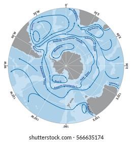 Vector map of the Antarctic Circumpolar Current