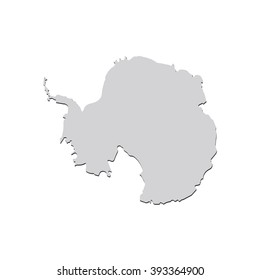 Vector map Antarctica. Isolated vector Illustration. Gray on White background. With shadow. EPS 10 Illustration.