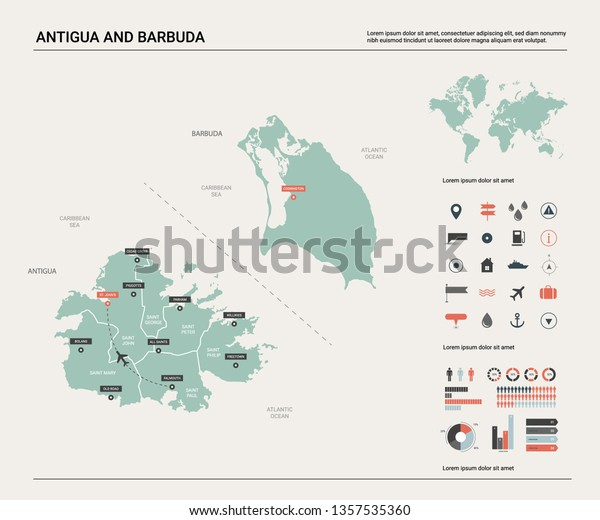 Vector Map Antigua Barbuda High Detailed Stock Vector ...