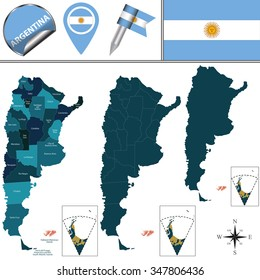 Vector map of Argentina with named provinces and travel icons