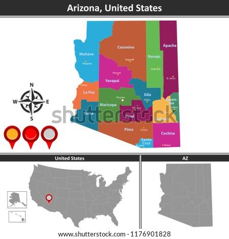 Vector Map Arizona Counties Location On Stock Vector (Royalty Free ...