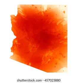 Vector map Arizona. Isolated vector Illustration. Orange watercolor effect. EPS 10 Illustration.