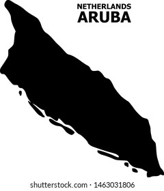 Vector Map of Aruba Island with caption. Map of Aruba Island is isolated on a white background. Simple flat geographic map.