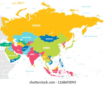 Map Of The Countries In Asia.Colorful Asia Map Countries Capital Cities Stock Vector Royalty