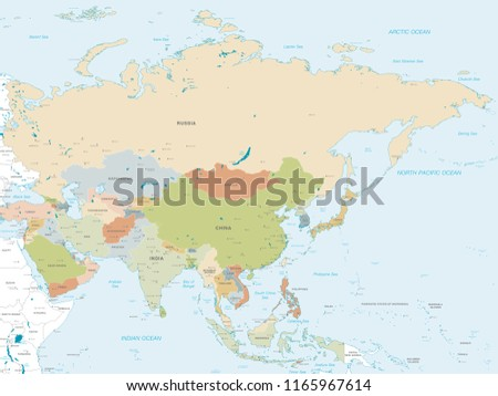 Map Of Asia Without Country Names.Vector Map Asia Continent Countries Capitals Stock Vector Royalty