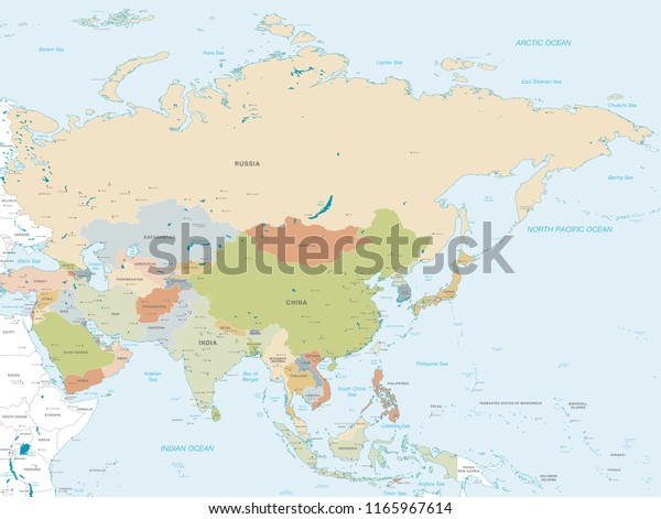 Vector Map Asia Continent Countries Capitals Stock Vector