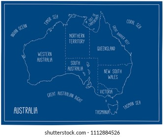 Cartoon australian map images stock photos vectors shutterstock vector map of australia blueprint sketch illustration with territories and capitals malvernweather Image collections