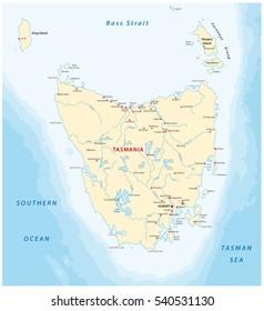 Vector map of the australian island tasmania