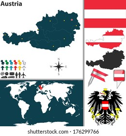 Austria flag images stock photos vectors shutterstock vector map of austria with regions coat of arms and location on world map gumiabroncs Images