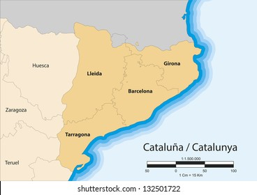 Vector map of the autonomous community of Catalonia (Cataluña/Catalunya). Spain.