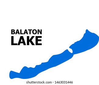 Vector Map of Balaton Lake with caption. Map of Balaton Lake is isolated on a white background. Simple flat geographic map.