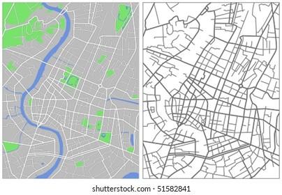 Vector map of Bangkok