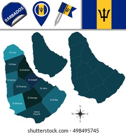 Vector map of Barbados with named parishes and travel icons
