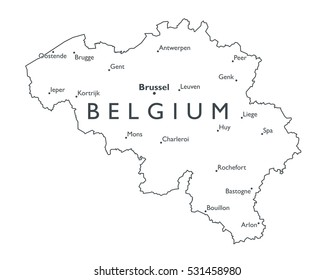 vector map of belgium monochrome contour map with city names