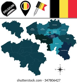 Vector map of Belgium with named provinces and travel icons.