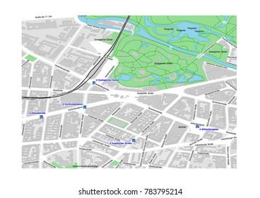 vector map of Berlin city district Charlottenburg near Kurfürstendamm