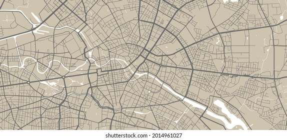 Vector map of Berlin, Germany, State of Germany. Street map poster illustration. Berlin map art.