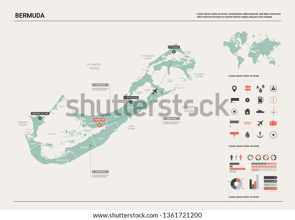 Vector Map Bermuda High Detailed Country Stock Vector (Royalty Free ...