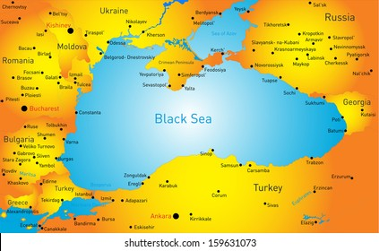 Black sea map images stock photos vectors shutterstock vector map of black sea region gumiabroncs Gallery