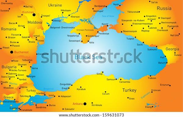 Vector Map Black Sea Region Arkistovektori Rojaltivapaa 159631073