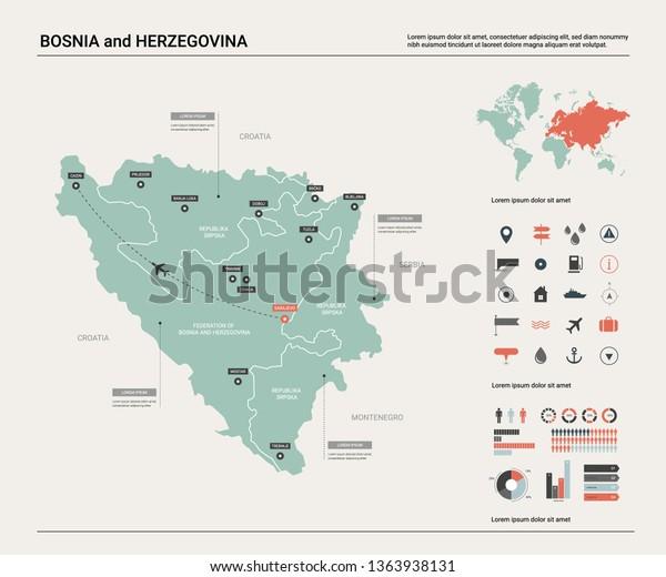 Vector Map Bosnia Herzegovina High Detailed Stock Vector ...
