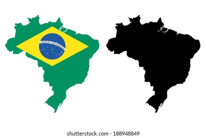 Vector map of Brasil on the white background