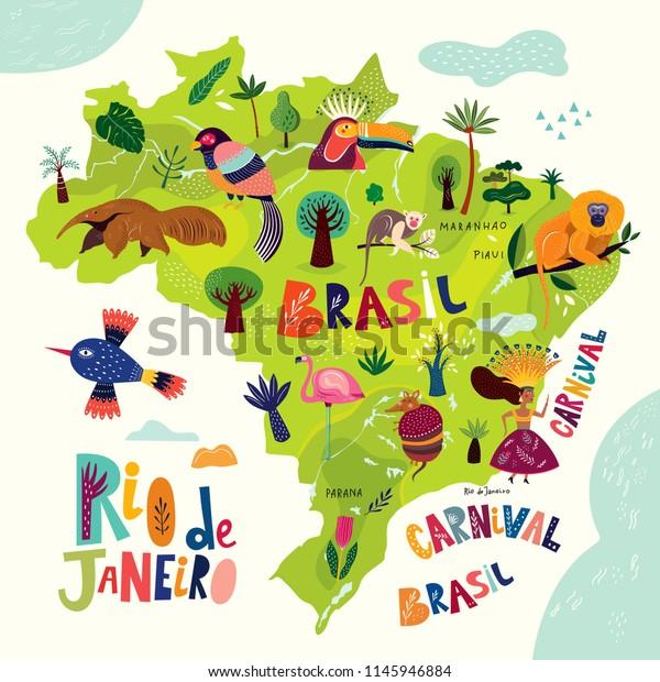 Vector Map Brazil Brazilian Symbols Icons Stock Vector ...