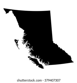 Vector map British Columbia. Isolated vector Illustration. Black on White background. EPS Illustration.