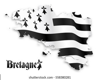 Vector map of Brittany silhouette with shadow on white background