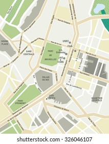 Vector Map Of Brussels.Source for map is a site University of Texas Libraries with educational resources free for use.