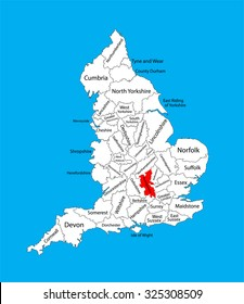 Vector map of Buckinghamshire, South East England, United Kingdom with regions. England vector map.