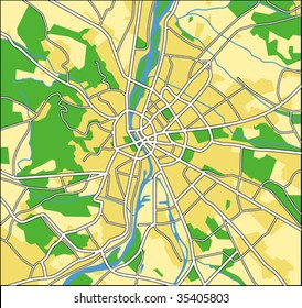 vector map of Budapest.