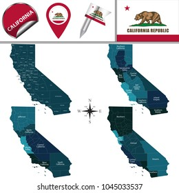 Vector map of California with named regions and travel icons