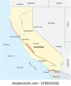 Carte vectorielle de la faille de Californie de San Andreas, États-Unis