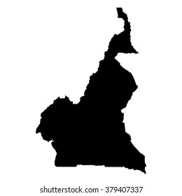 Vector map Cameroon. Isolated vector Illustration. Black on White background. EPS Illustration.
