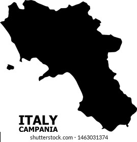 Vector Map of Campania region with caption. Map of Campania region is isolated on a white background. Simple flat geographic map.
