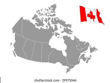 Vector map of Canada with flag