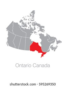Vector Map of Canada Highlighting the Province of Ontario