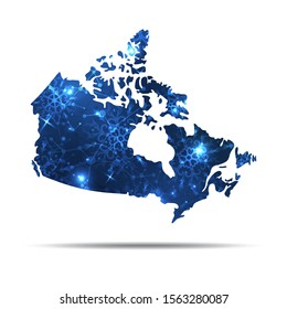 Vector map of Canada with snowflakes. Winter illustration for your design
