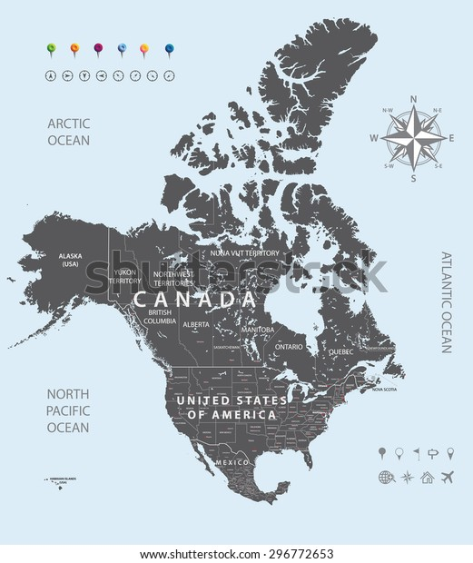 Vector Map Canada United States Mexico Stock Vector (Royalty Free ...