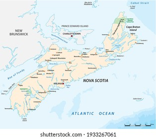 Vector map of the Canadian province of Nova Scotia